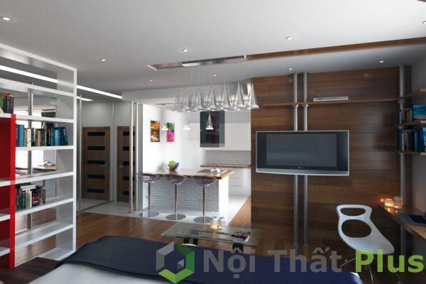 Thiết kế nội thất phòng khách cho căn hộ 69m2