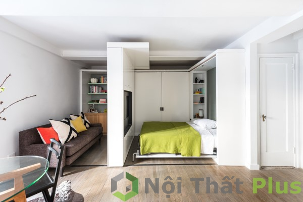 Phòng khách kết hợp phòng ngủ cho căn hộ chung cư 1 phòng ngủ