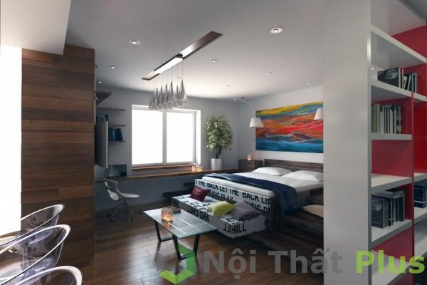 Không gian phòng ngủ cho căn hộ 69m2.