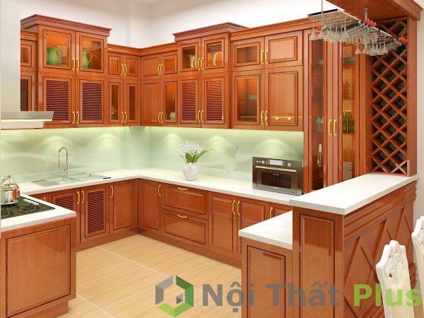 mẫu nội thất phòng bếp gỗ tự nhiên