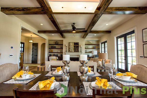 mẫu không gian phòng ăn cổ điển cho nội thất biệt thự