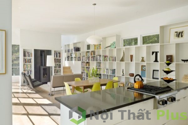 mẫu nội thất phòng bếp kiểu mở với phòng khách