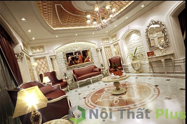 mẫu phòng khách phong cách hoàng gia cho nội thất biệt thự