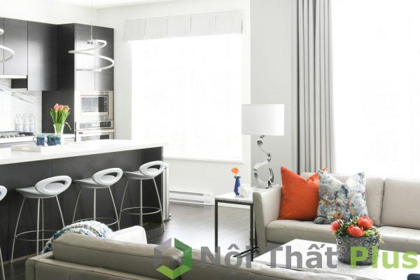thiết kế phòng bếp mở với phòng khách