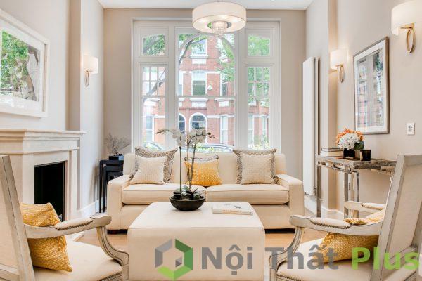 mẫu phòng khách cổ điển cho nội thất nhà phố