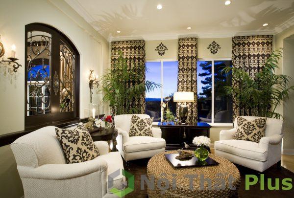 mẫu phòng khách có cây xanh