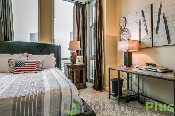 mẫu nội thất phòng ngủ có phòng làm việc