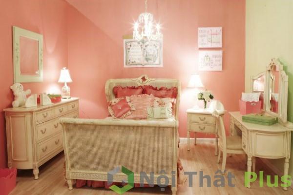 mẫu nội thất phòng ngủ màu hồng