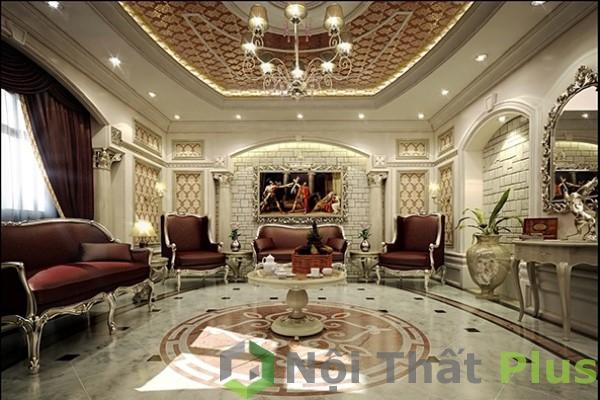 mẫu nội thất phòng khách phong cách quý tộc cho nội thất biệt thự