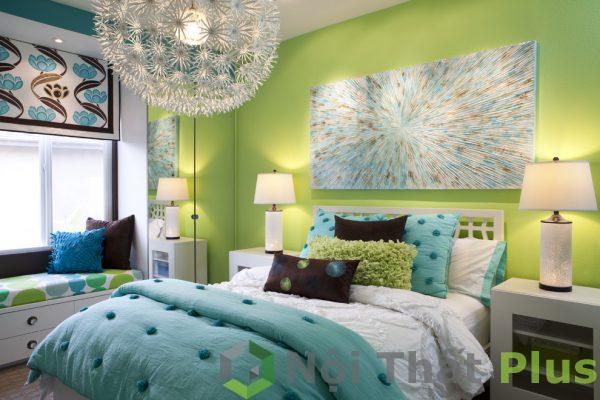 trang trí phòng ngủ màu xanh