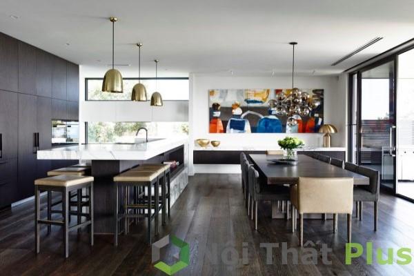 mẫu nội thất phòng bếp hiện đại tối giản