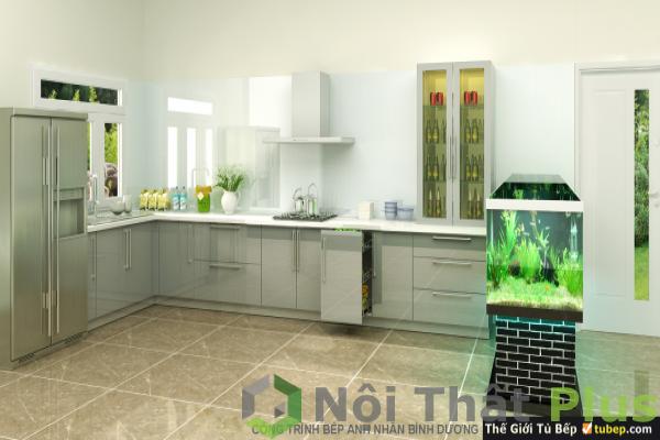 tủ bếp gỗ công nghiệp chất liệu acrylic cho nội thất phòng bếp