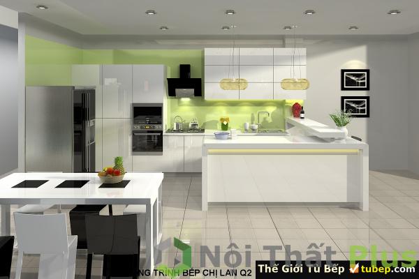 mẫu thi công nội thất phòng bếp nhà chị Lan