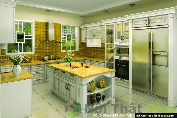 mẫu thi công nội thất phòng bếp nhà anh Tân