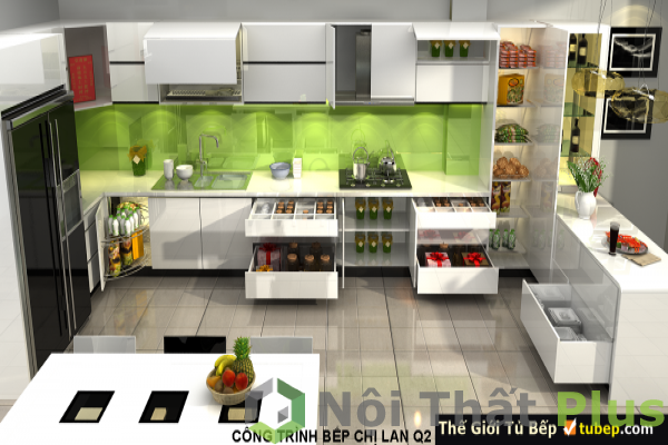 Tủ bếp được thiết kế đầy đủ tiện nghi cho nội thất phòng bếp