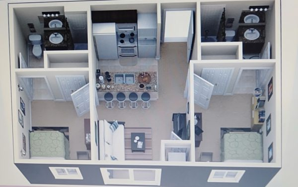 nội thất hiện đại cho căn hộ 2 phòng ngủ