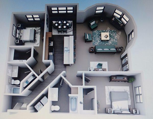nội thất không gian mở cho căn hộ