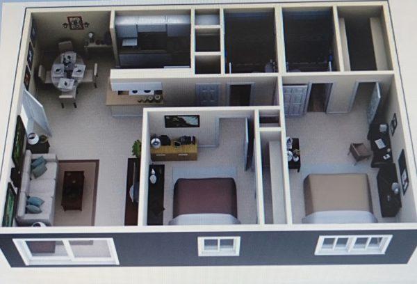 nội thất mộc mạc cho 2 phòng ngủ