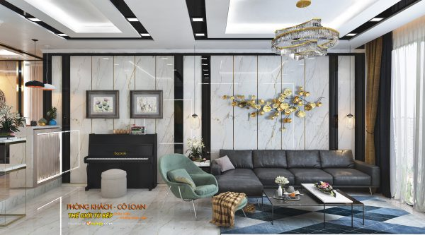 mẫu phòng khách để thiết kế nội thất căn hộ nhà cô loan