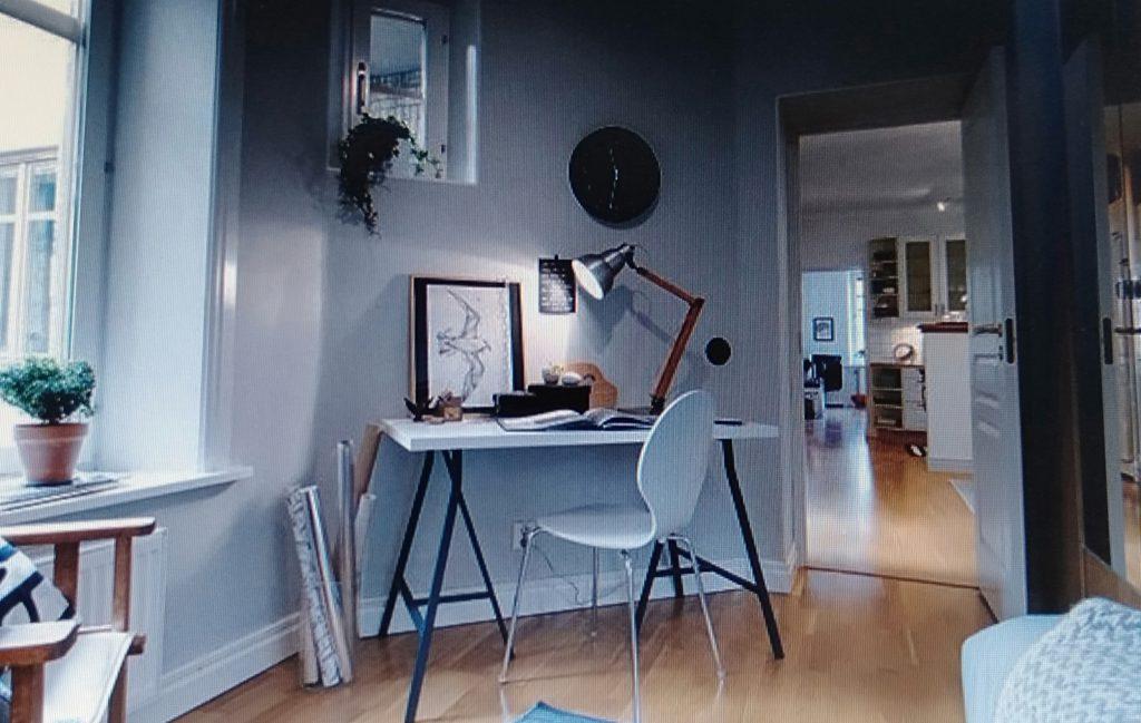 phòng làm việc phong cách scandinavia cho căn hộ chung cư 80m2