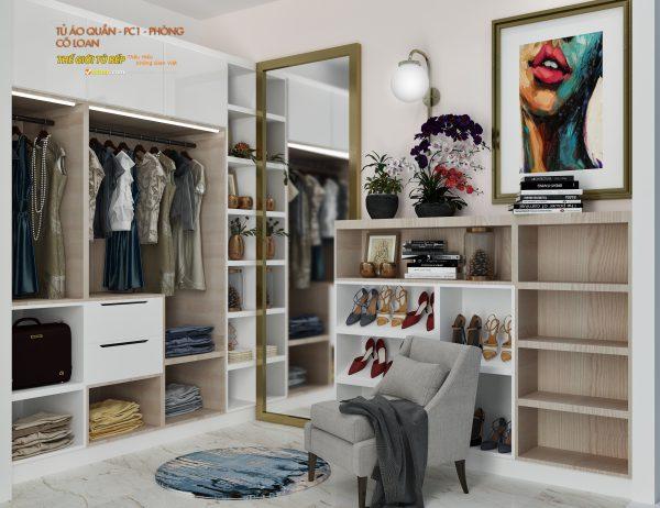 mẫu thiết kế tủ quần áo cho căn hộ của cô loan
