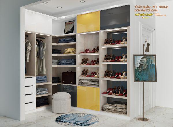 mẫu tủ quẩn áo cho căn hộ nhà cô loan