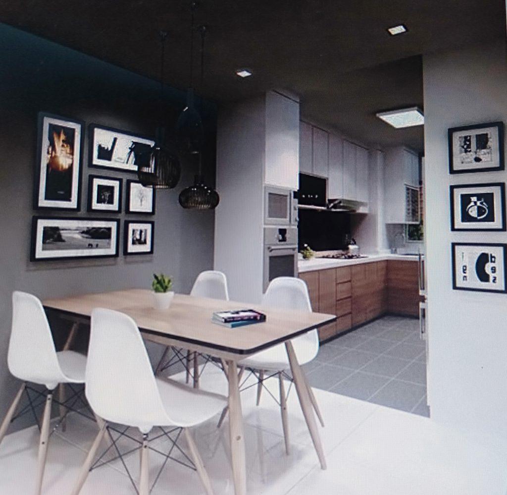 phòng ăn ấm cúng cho căn hộ chung cư 80m2