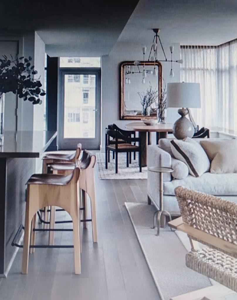 phòng khách phòng bếp phong cách nautical cho căn hộ chung cư 80m2