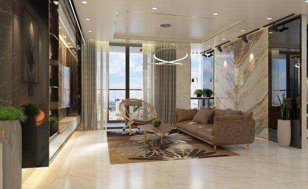 mẫu thiết kế phòng khách cho căn hộ chung cư LanDMark