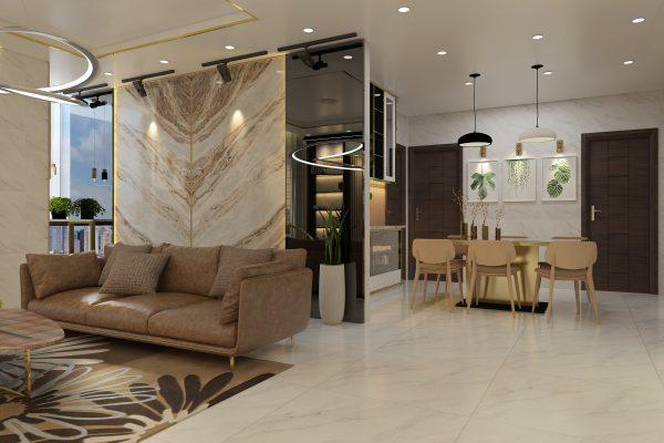 phòng bếp và phòng khách kiểu mỡ tại căn hộ LanDMark