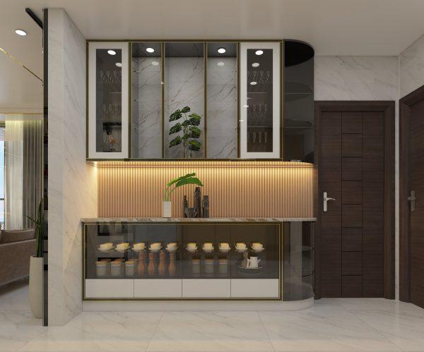 mẫu tủ ly 3 tầng tại căn hộ chung cư LanDMark