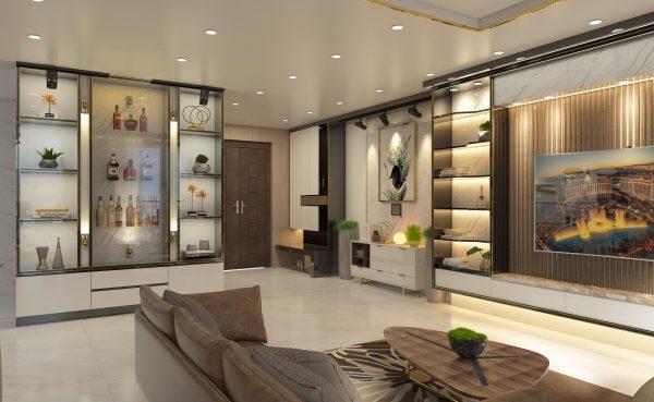 mẫu thiết kế tủ rượu tại căn hộ chung cư LanDMark