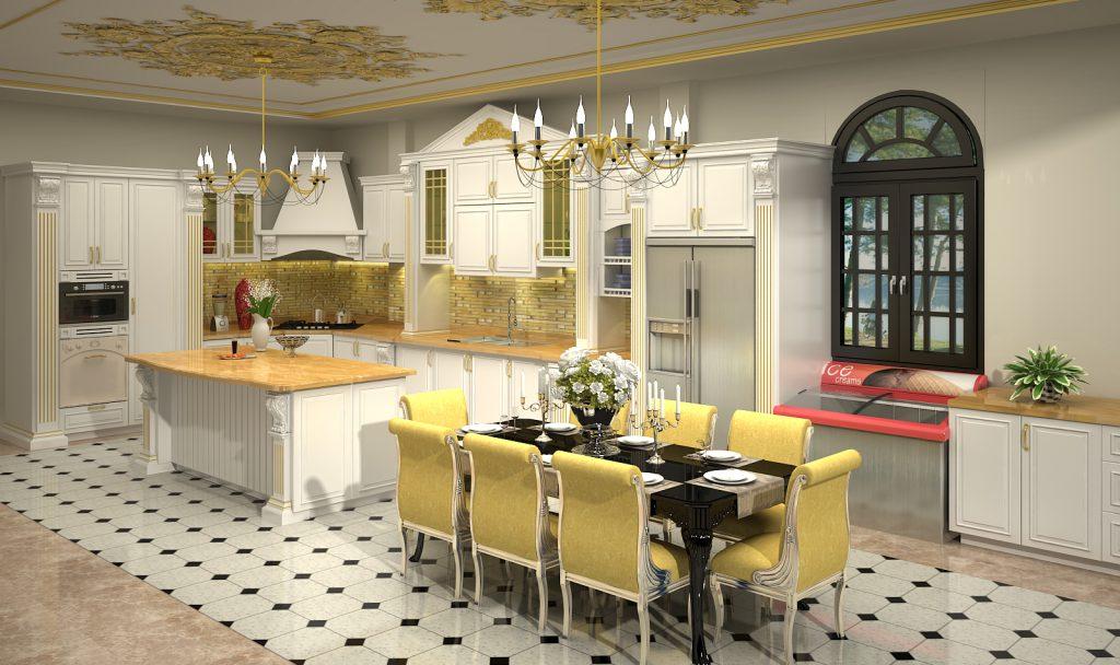 mẫu phòng bếp tân cổ điển và phòng ăn sang trọng