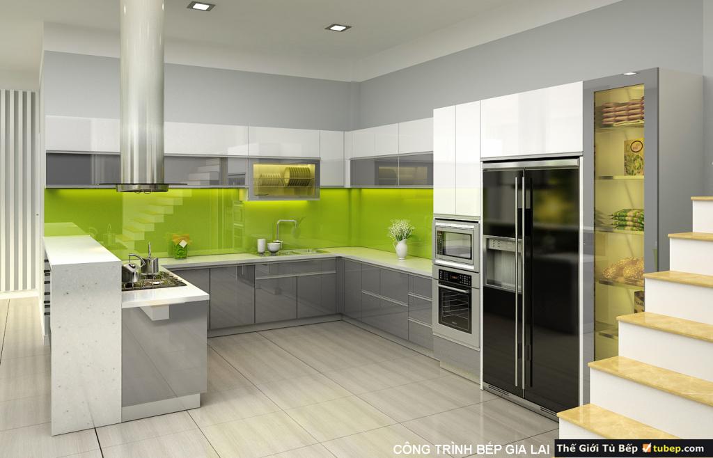 mẫu thiết kế tủ bếp cho gia đình anh long
