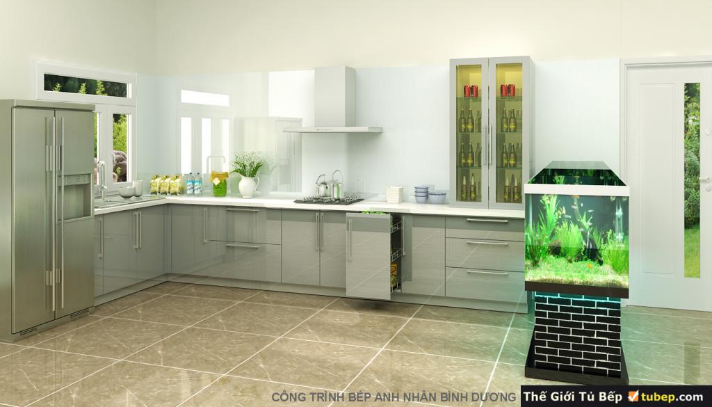 mẫu tủ bếp được thiết kế rộng rãi, thoáng mát