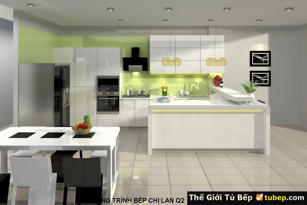 mẫu thiết kế nhà bếp cho nhà chị lan