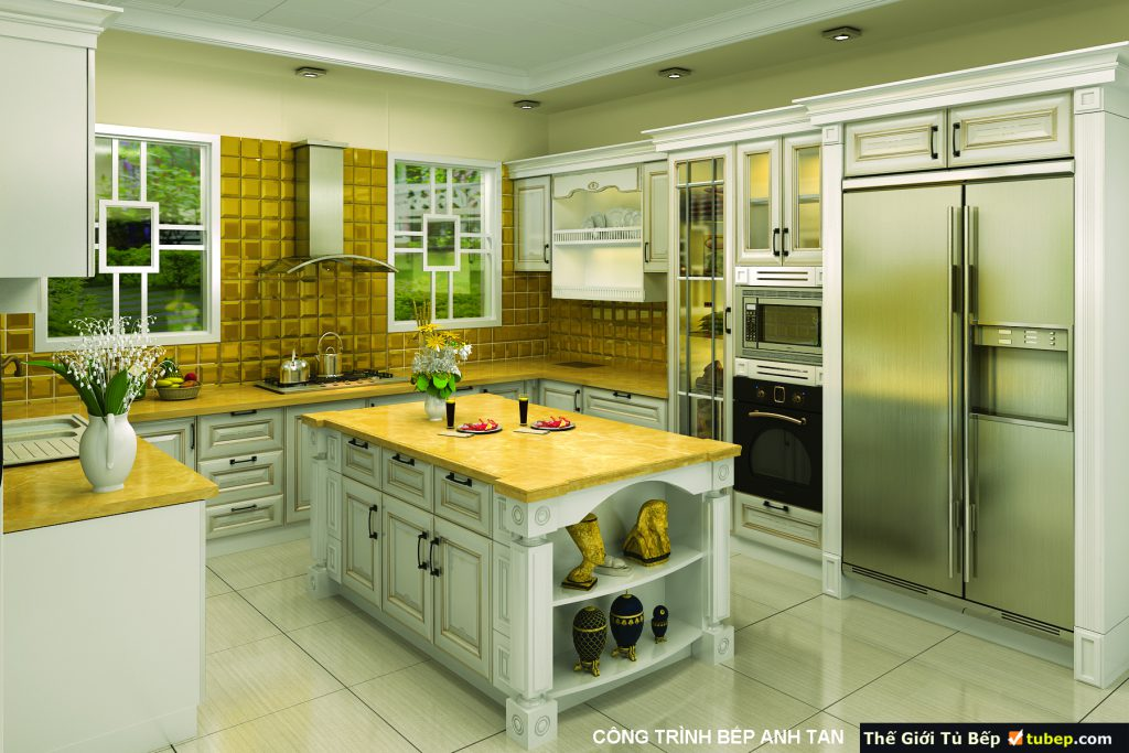 mẫu tủ bếp gỗ tự nhiên được thiết kế thông minh