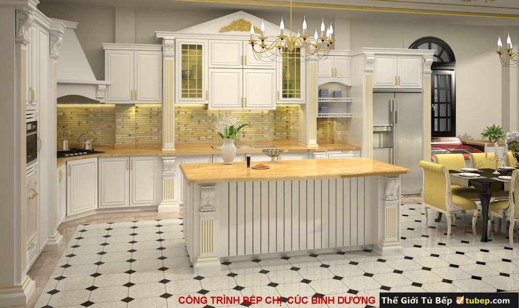 mẫu tủ bếp tân cổ điển thông minh tiện nghi