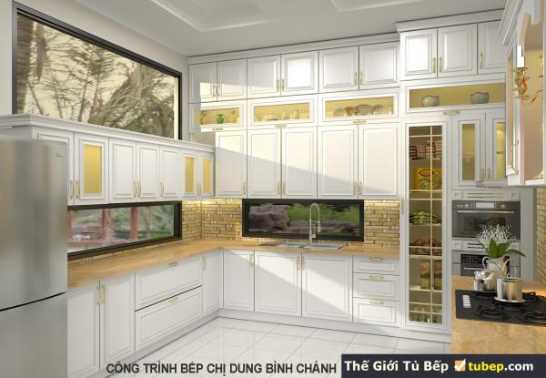 Thiết kế tủ bếp gỗ tự nhiên cho chị Dung
