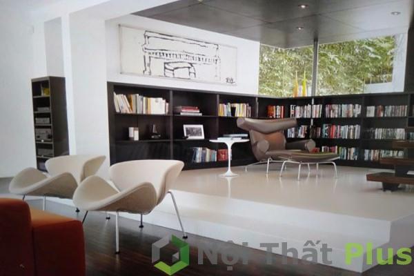 thiết kế phòng khách tông màu trắng