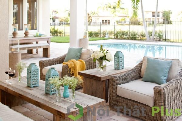 giá thiết kế thi công phòng khách ngoài hồ bơi cho biệt thự