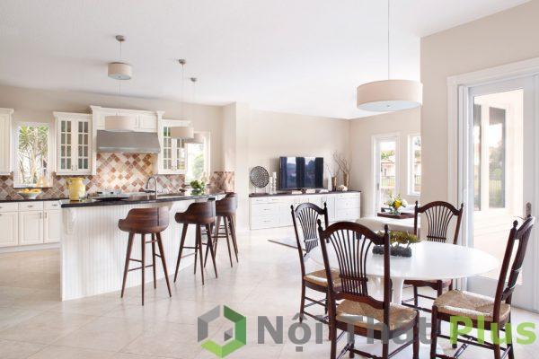 giá thiết kế thi công phòng bếp màu trắng cho biệt thự