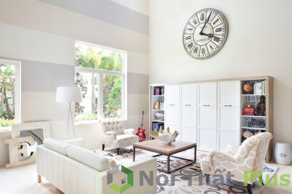 giá thiết kế thi công phòng khách màu trắng cho biệt thự