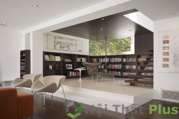 thiết kế phòng khách cho cầu thang bằng gỗ