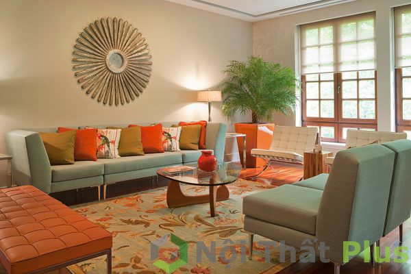 mẫu phòng khách màu sắc cho nhà phố