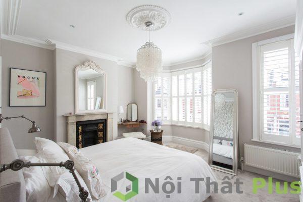mẫu phòng ngủ màu trắng cho nhà phố